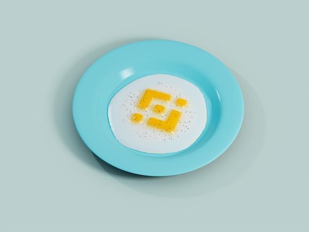 바이낸스 계란 노른자 써니 사이드 업 아침 식사 암호화 통화 3d 그림 렌더링