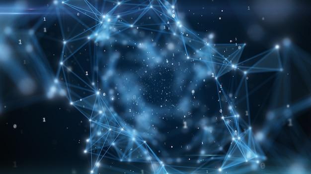 Двоичный код летит в абстрактный технологический туннель с геометрической поверхностью. абстрактная туннельная сетка. может использоваться в качестве цифровых динамических обоев, фон технологии 3d иллюстрации