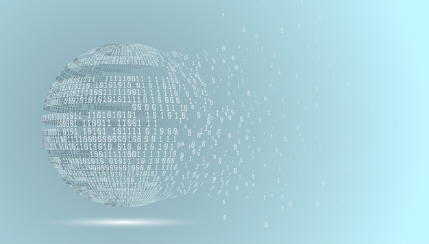 이진 코드 글로브입니다. 기술 행성입니다. 빅 데이터. 글로벌 네트워크. 인공 지능. 혼돈에서 시스템으로.
