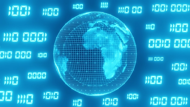 Binary code surrounds the sci-fi blue world.