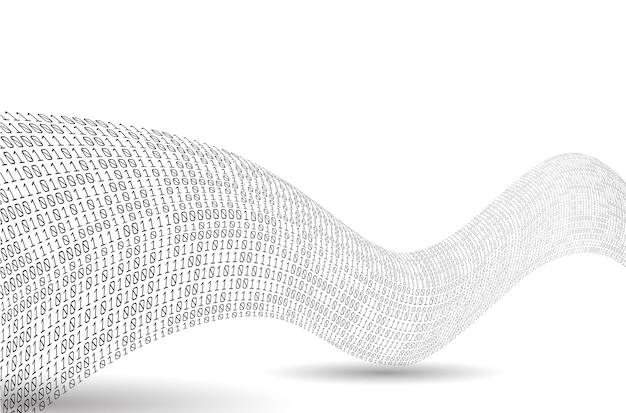 Волна двоичного кода. звук как бинарная волна. абстрактный двоичный фон.