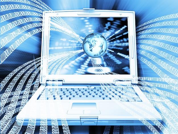 노트북 컴퓨터에서 세계와 이진 코드