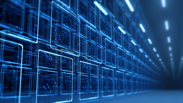 Binary data on monitor screen panels in data center