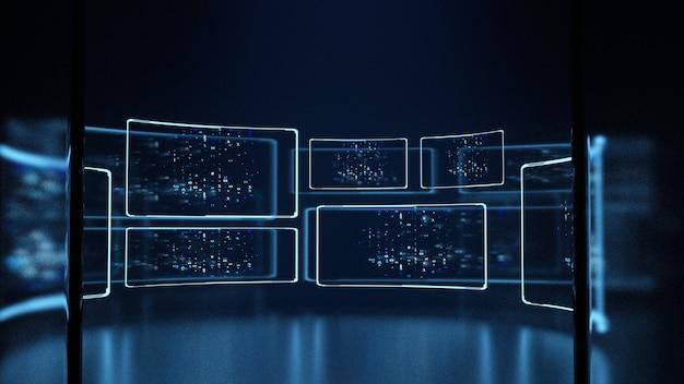 원 모양 데이터 센터에서 모니터 화면 데이터 패널의 이진 데이터
