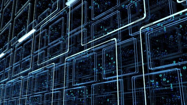Двоичные данные на мониторных панелях в центре обработки данных