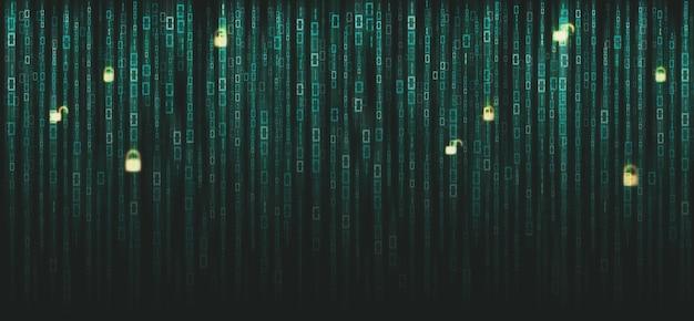 画面上のバイナリマトリックスコード。インターネットシステム上のコンピュータマトリックスの番号。暗号通貨ビットコインのコーディング、ハッカー、またはマイニングの概念。