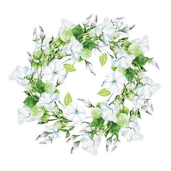 結婚式のための花輪のバインドウィードの春の花。装飾要素