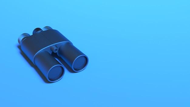 Binoculars in blue neon lighting, 3d illustration