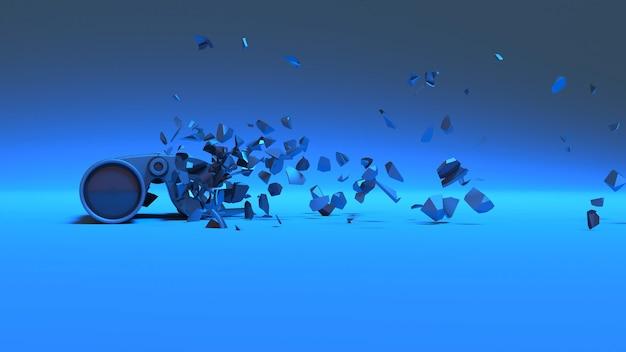 Binoculars in blue neon lighting falling apart into small fragments, 3d illustration