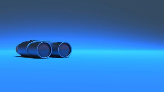 Бинокль в синем неоновом освещении, 3d иллюстрация