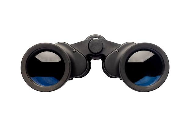 Binoculars on an isolated white