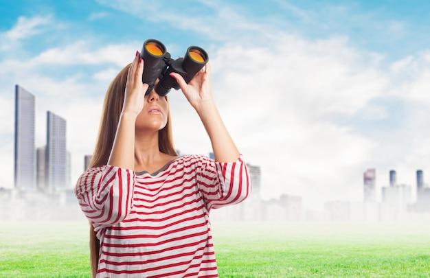 双眼鏡の観点幸せカジュアルキュート