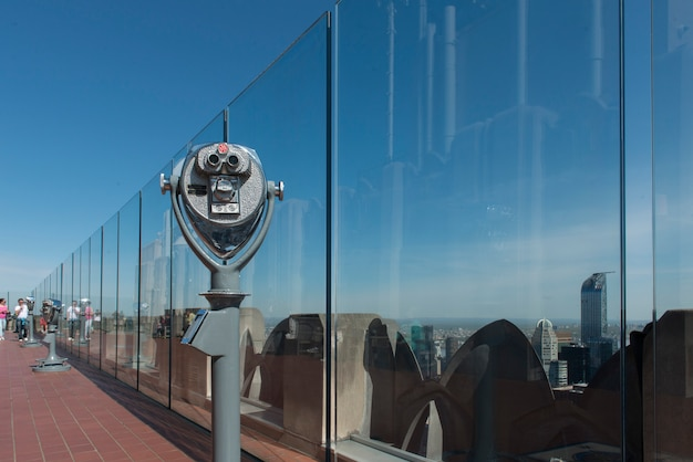 Binoculars at top of the rock observation deck, midtown manhattan, new york city, new york state, us