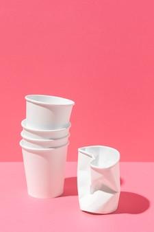 Bio cardboard paper cups copy space