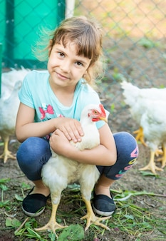Bio chickens on a home farm a children.