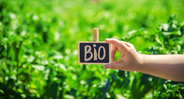 Bio farm sign in the hands of a child. selective focus.