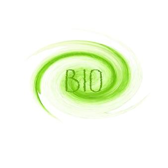바이오 제품 컨셉 로고 디자인. 흰색 바탕에 녹색 수채화 손으로 그린 기호 레이블 엠 블 럼 포스터 파. 흰색 배경에 고립 된 바이오 디자인 템플릿 그런 지 브러시 질감 그림
