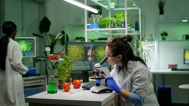 현미경을 사용하여 농업 전문 지식을 위해 생물학적 슬라이드를 분석하는 생물학 연구원