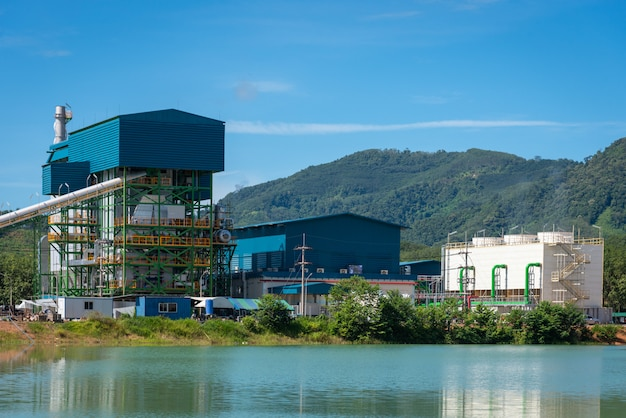 Biomass power plant in thailand and water reflection