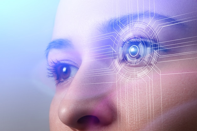 Biometrics concept. facial recognition system. face recognition. iris recognition.