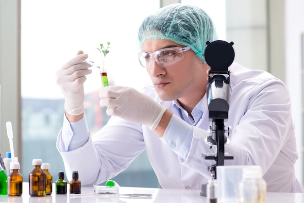 Biotechnology  with scientist in lab