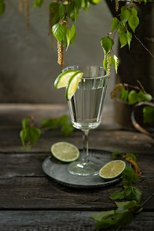 Birch juice with lime slices, young branches and flowering buds of birch. russian cuisine