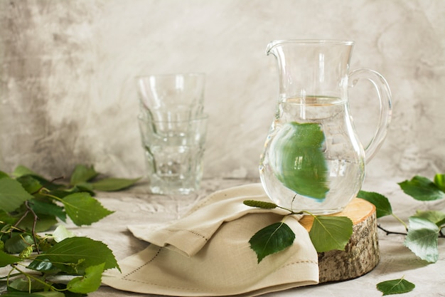 Birch sap in a glass jar