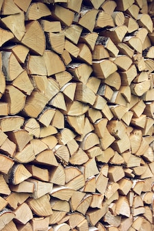 Birch wood in the woodpile. background, wood texture.