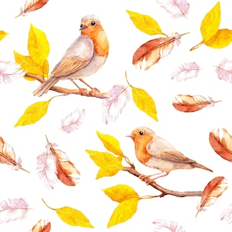 Bird on branch and feathers. seamless retro watercolor pattern