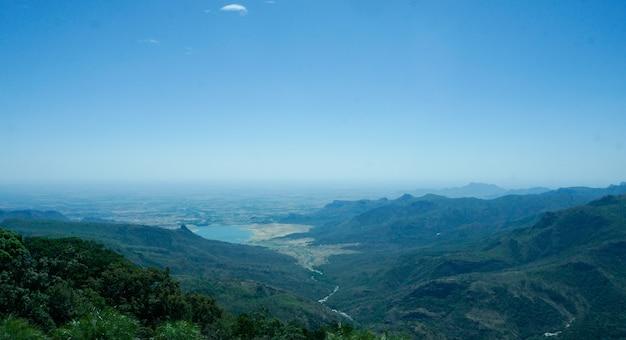 Bird eye view of a dam