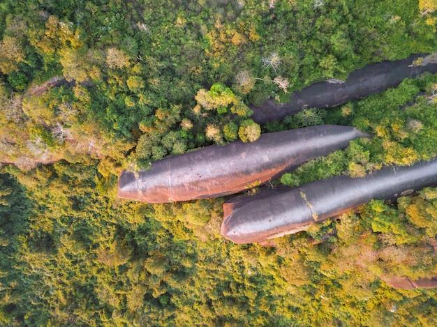 Снимок с высоты птичьего полета трех китов в парке пху синг в бунгкарне, таиланд