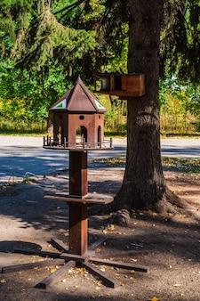 Кормушки в городском парке. барнаул, изумрудный парк, алтайский край, россия