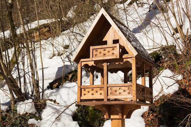 Bird feeders in the winter garden