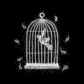 黒の上のケージの鳥。羽のラスターイラスト。ドットワーク手描きスケッチ。