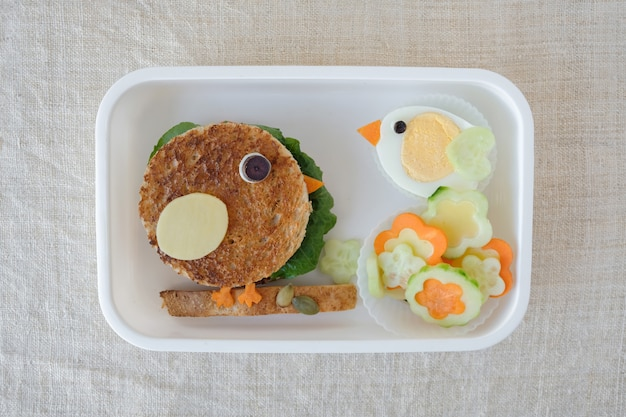 Bird lunch box, fun food art for kids