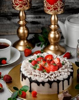 Bird milk cake on the table