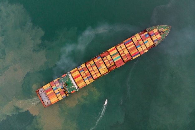 Bird's-eye view from drone of sea freight
