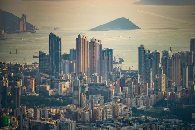 Bird's eye view of hong kong at dusk