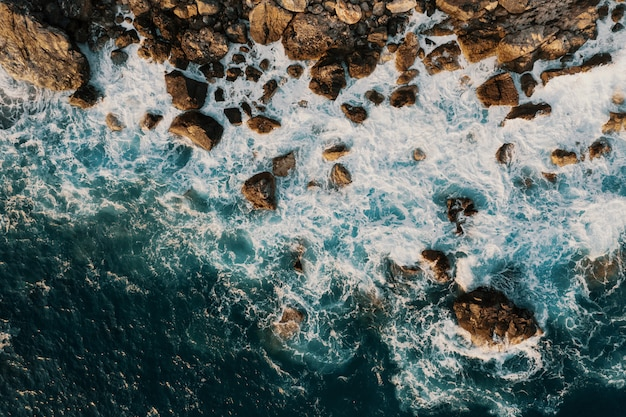 Bird's eye view of a shore break