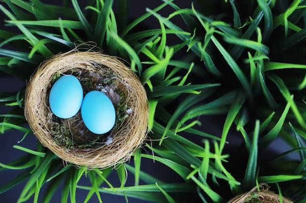 卵と鳥の巣。柳の枝と最初の緑。イースターの背景。パームサンデー。キリスト教の祝日。春の背景。
