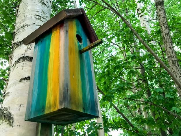 春または夏の木の上の巣箱。鳥の餌箱は白樺の木にぶら下がっています。公園エリアの鳥のための木造住宅。シンプルな巣箱のデザイン。鳥を飼育するための避難所。テキストまたはロゴ用のスペース