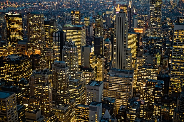Birds-eye view shot of new york manhattan in usa