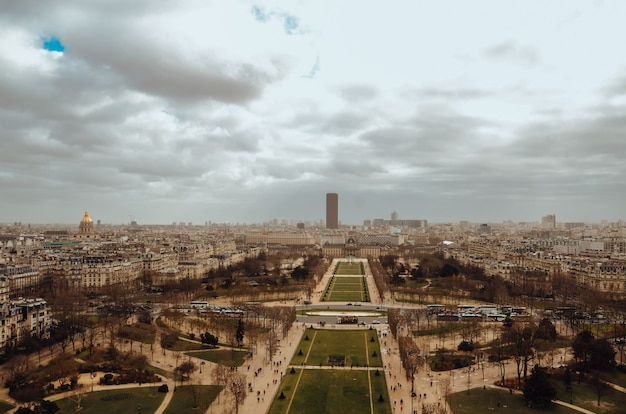 Birds-eye view shot of paris, france during cloudy weather