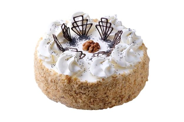 Торт ко дню рождения, изолированные на белом copyspace