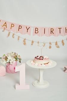 생일 1 년 케이크 스매쉬 장식