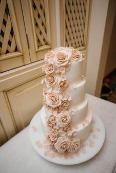 Birthday cake at a banquet close-up. dessert.
