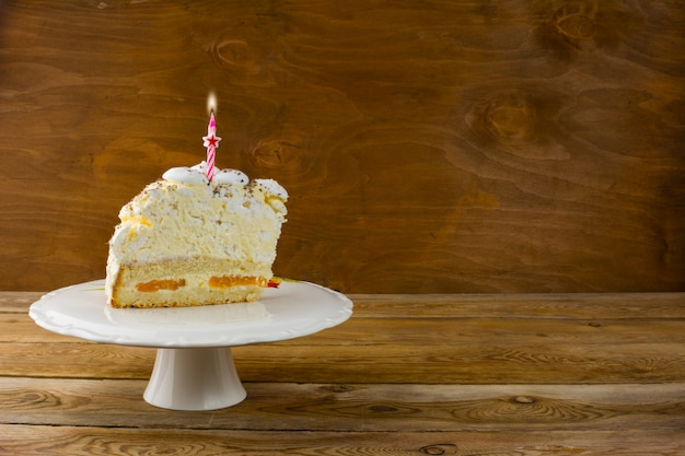 Birthday cake with burning candles, copy space