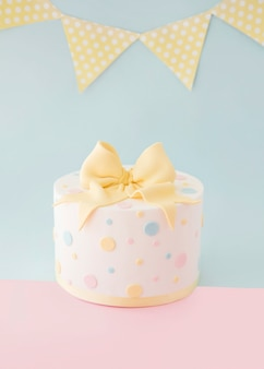Birthday cake with decorative garland