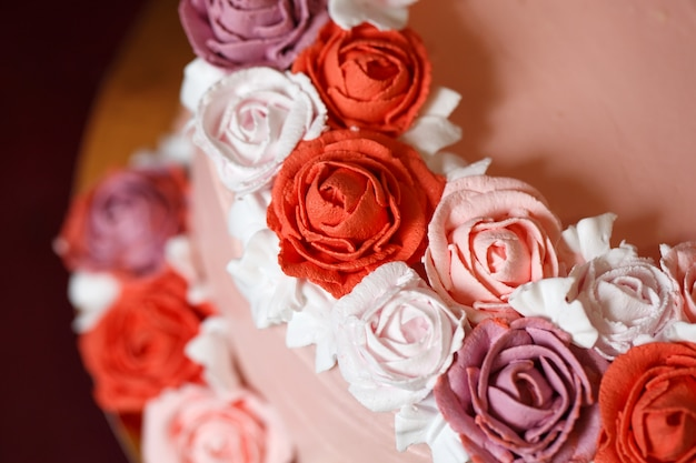 Birthday cake with red roses.