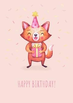 선물 상자 생일 파티를위한 귀여운 수채화 여우 생일 카드. 흰색 문자. 축하를위한 동물.